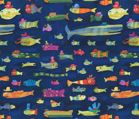 Jo Brown  Big Fish Hats  fabric by happytomato on Spoonflower - custom fabric