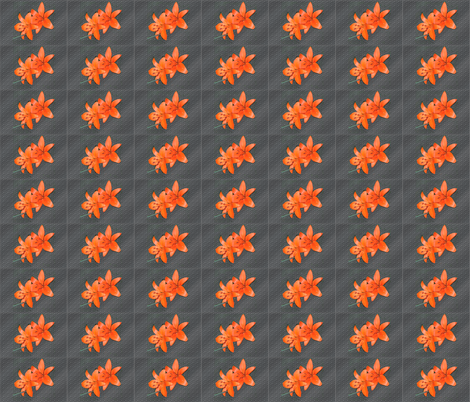 Orange Daylillies on Gray fabric by oceanpeg on Spoonflower - custom fabric