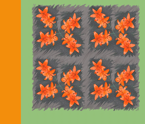 Orange Daylillies Large Blocks fabric by oceanpeg on Spoonflower - custom fabric