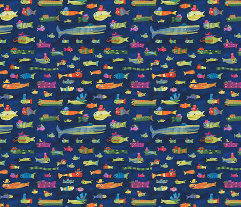 JoBrown Small Fish Hats fabric by happytomato on Spoonflower - custom fabric