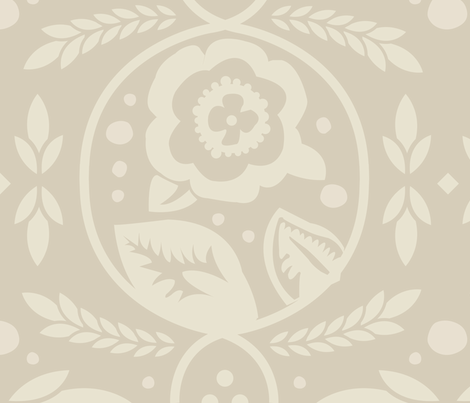 Wheat_Blossoms-greige fabric by katphillipsdesigns on Spoonflower - custom fabric
