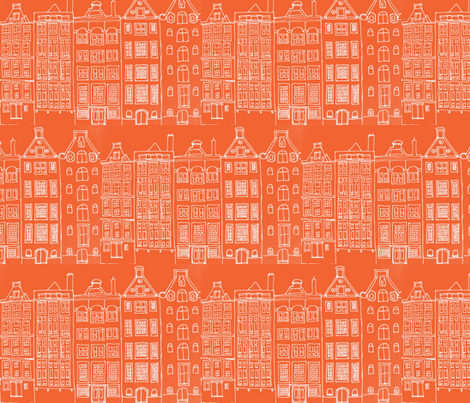 DutchHouses white on orange fabric by blue_jacaranda on Spoonflower - custom fabric