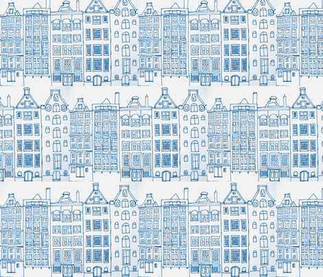 DutchHouses blue on white fabric by blue_jacaranda on Spoonflower - custom fabric
