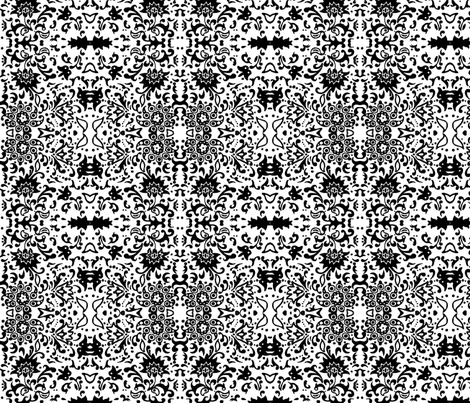 Flower Damask B&W fabric by flyingfish on Spoonflower - custom fabric