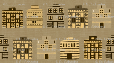 Stark Minoan houses on linen weave
