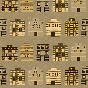 Stark Minoan houses on linen weave by Su_G