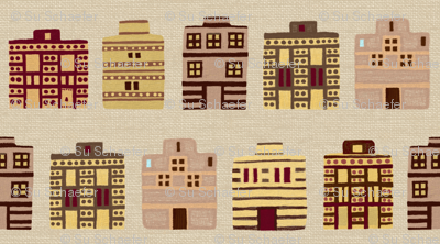 Minoan houses on bone linen weave