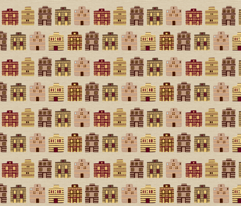Minoan houses on bone linen weave fabric by su_g on Spoonflower - custom fabric