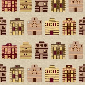 Minoan houses on bone linen weave by Su_G