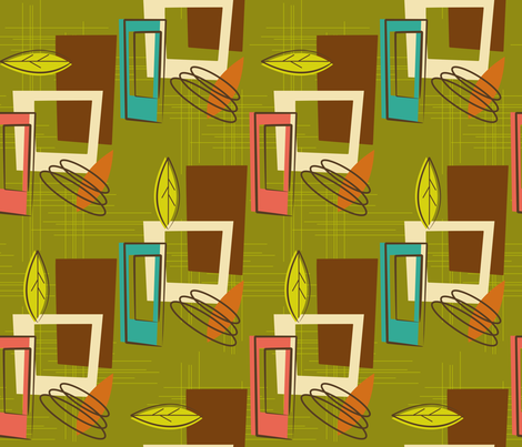 Mid Century Modernista (Green) fabric by retrorudolphs on Spoonflower - custom fabric