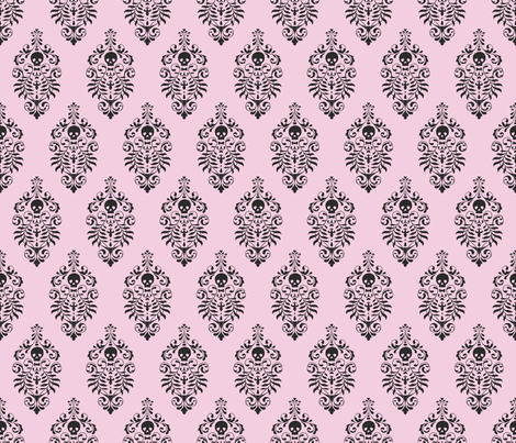 Skull Damask - black on pink