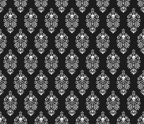 Skull Damask - white on black fabric by edenki on Spoonflower - custom fabric