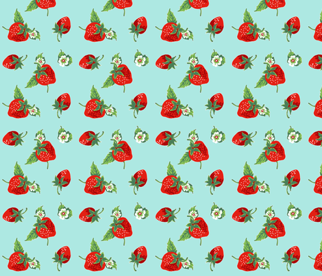 strawberries_aqua fabric by sylvine on Spoonflower - custom fabric