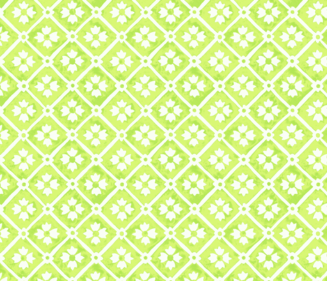 tile flower lime fabric by neatdesigns on Spoonflower - custom fabric