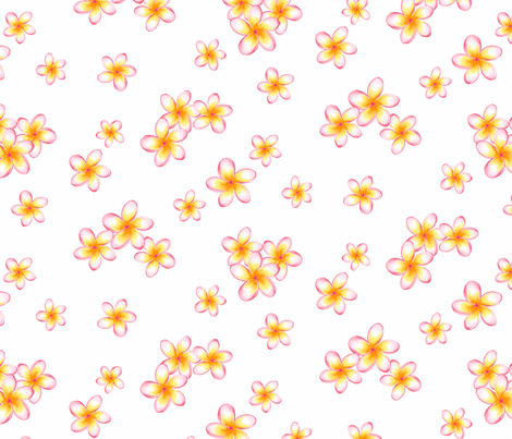Sunset Frangipani co-ordinate fabric by neatdesigns on Spoonflower - custom fabric