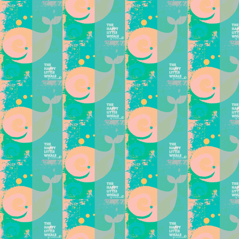 Happy Little Whale Peach/Green fabric by _vandecraats on Spoonflower - custom fabric