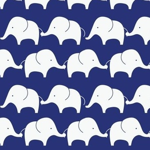 Mod Elephants On Indigo