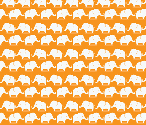 Mod Elephants on orange fabric by suryasajnani on Spoonflower - custom fabric