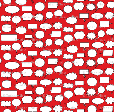 Comic Adventures: Speech Balloons on red