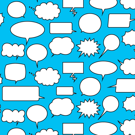 Comic Adventures: Speech Balloons on blue fabric by jazzypatterns on Spoonflower - custom fabric