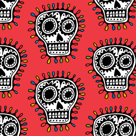 Sugar Skull - red fabric by andibird on Spoonflower - custom fabric