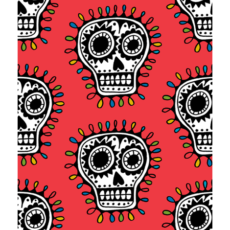 Sugar Skull - red fabric by andibird on Spoonflower - custom fabric