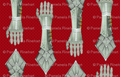 Gauntlets - silver and red