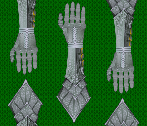 Gauntlets - steel and green fabric by glimmericks on Spoonflower - custom fabric