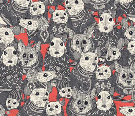 sweater mice coral fabric by scrummy on Spoonflower - custom fabric