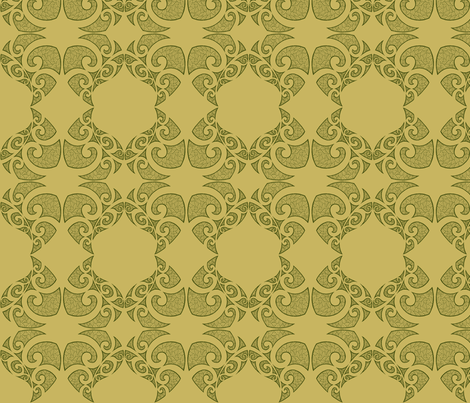 Monstera Damask green fabric by flyingfish on Spoonflower - custom fabric