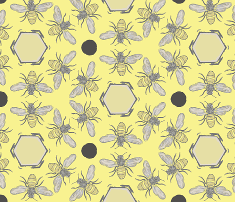 Beneficial Bumblebees & Hexagonal Honeycombs - Lemon fabric by owlandchickadee on Spoonflower - custom fabric