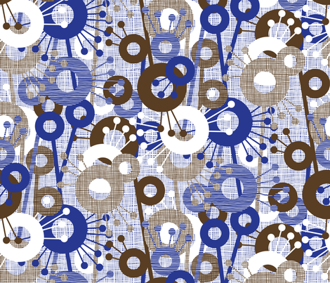 Sticks & Spots, Stripes & Dots: Cobalt Brown fabric by sammyk on Spoonflower - custom fabric