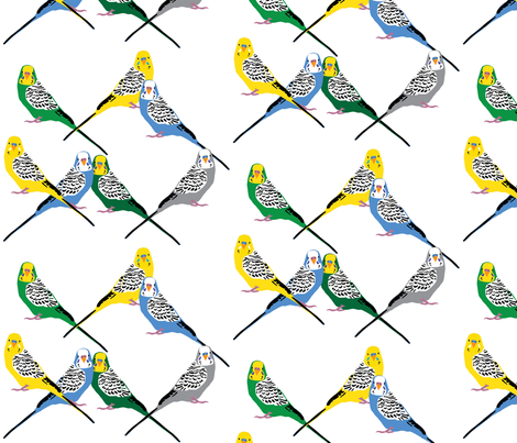 Parakeets Looking at You - Multicolor fabric by owlandchickadee on Spoonflower - custom fabric