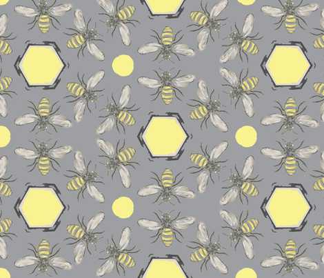 Beneficial Bumblebees & Hexagonal Honeycombs - Light fabric by owlandchickadee on Spoonflower - custom fabric