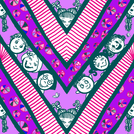 Zig-Zaggy Kids: Large fabric by tallulahdahling on Spoonflower - custom fabric