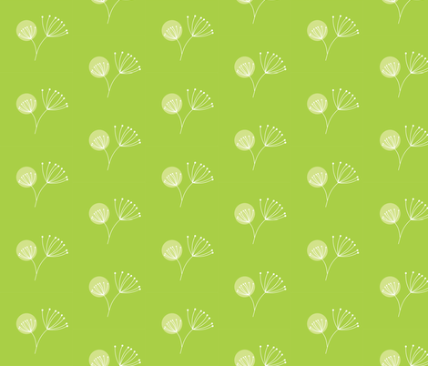 Lime Dot Dandelion fabric by smuk on Spoonflower - custom fabric