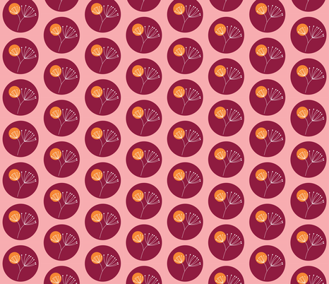 Berry orange drop dandelion fabric by smuk on Spoonflower - custom fabric