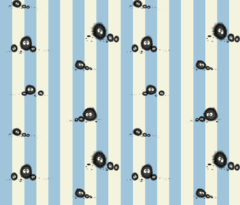 Totoro soot sprites stripe fabric by retropopsugar on Spoonflower - custom fabric