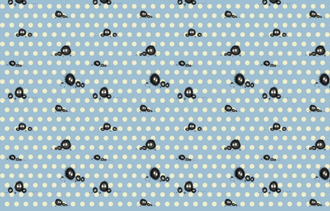 Totoro soot sprites spots fabric by retropopsugar on Spoonflower - custom fabric