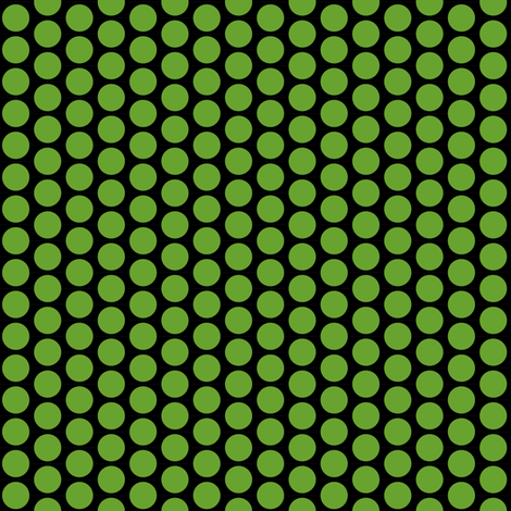 Green polka dots on a field of black fabric by whimzwhirled on Spoonflower - custom fabric