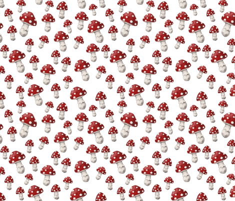 MUSHROOM Red and White fabric by thistleandfox on Spoonflower - custom fabric