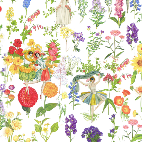Flower Girls fabric by peagreengirl on Spoonflower - custom fabric