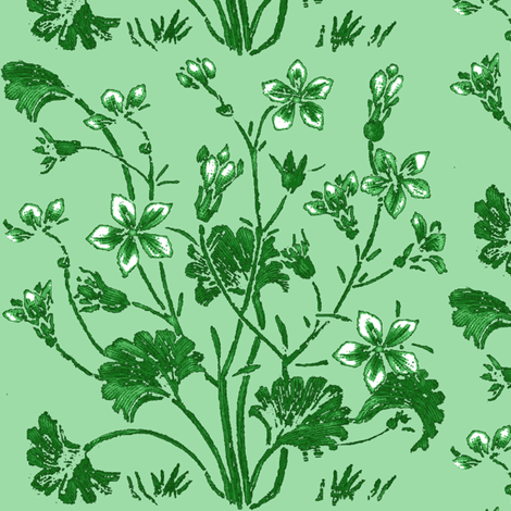 Ginkgo and Jasmine / Mint fabric by paragonstudios on Spoonflower - custom fabric