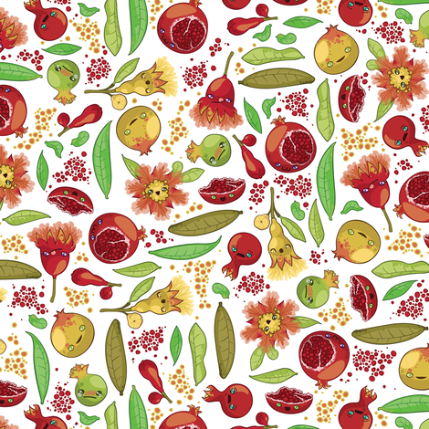 Kawaii Pomegranate Family fabric by fuzzyskyfabric on Spoonflower - custom fabric