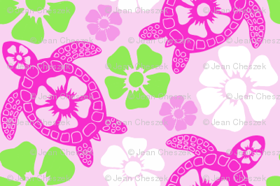 Turtles in Pink and Green (#31a)