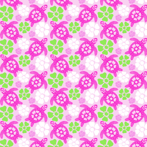 Turtles in Pink and Green (#31a) fabric by coloroncloth on Spoonflower - custom fabric