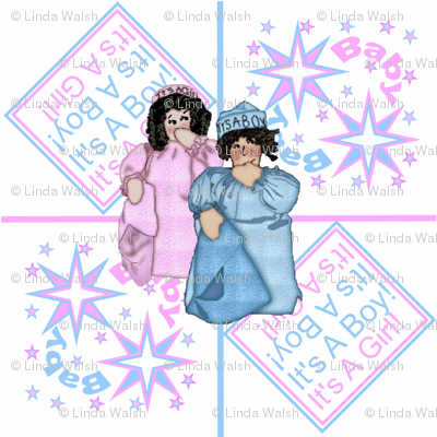 It's A Girl! It's A Boy! Dolls With Stars and Squares Fabric