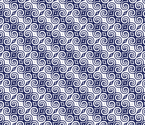 Upton Spiral navy fabric by flyingfish on Spoonflower - custom fabric