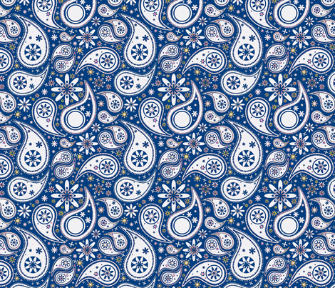 Paisley Garden blue fabric by flyingfish on Spoonflower - custom fabric