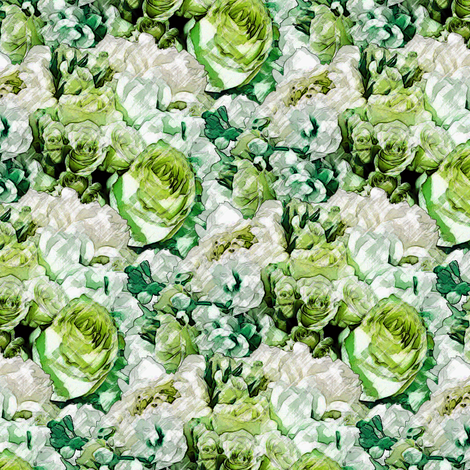 Lush Garden - Viridian fabric by inscribed_here on Spoonflower - custom fabric